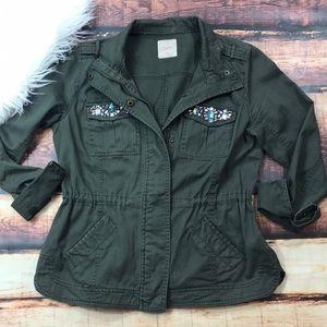 Olive Green Military Style Utility Jacket Jewel